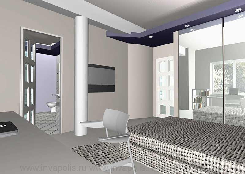 Детская спальня с зоной кабинета и ванной комнатой. Проект интерьеров особняка в СТУПИНО