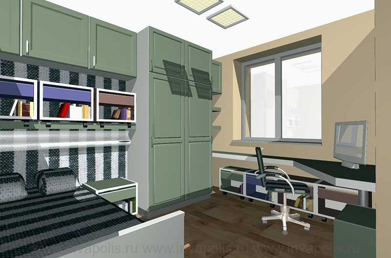 Детская спальня с игровой зоной. Проект интерьеров квартиры в СТУПИНО
