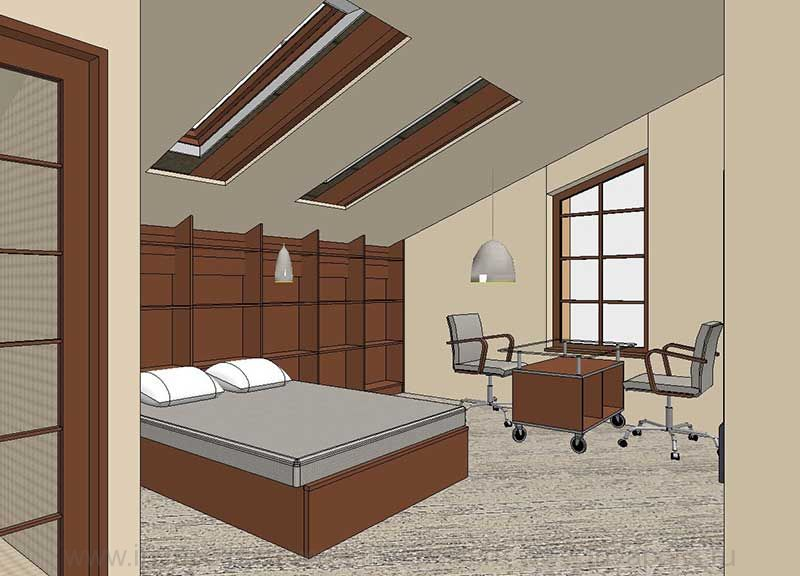 Мансардная  спальня с зоной для занятий и ванной комнатой . Проект интерьеров особняка ЯНТАРЬ