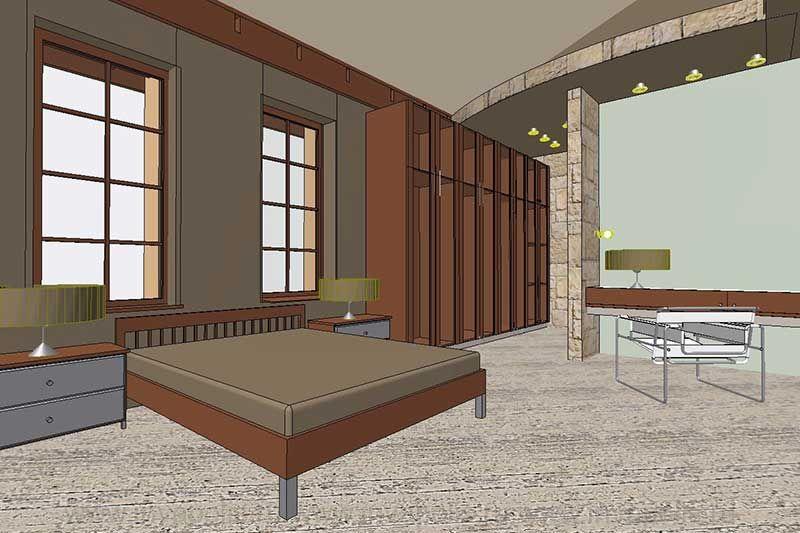 Спальня апартаментов хозяина на четвертом уровне дома-спирали. Проект интерьеров особняка ЯНТАРЬ