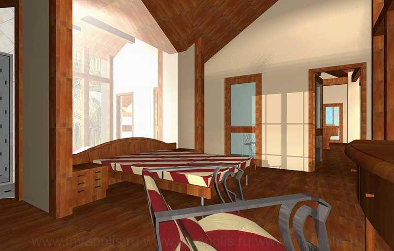 Спальня в  стиле ШАЛЕ. Проект интерьера коттеджа ГИЛЬДИЯ