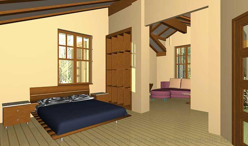 Спальня в мансардном этаже. Проект интерьеров дома ТИРОЛЬ