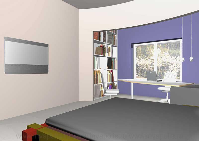 Спальня подростка с кабинетом. Проект интерьеров особняка в СТУПИНО