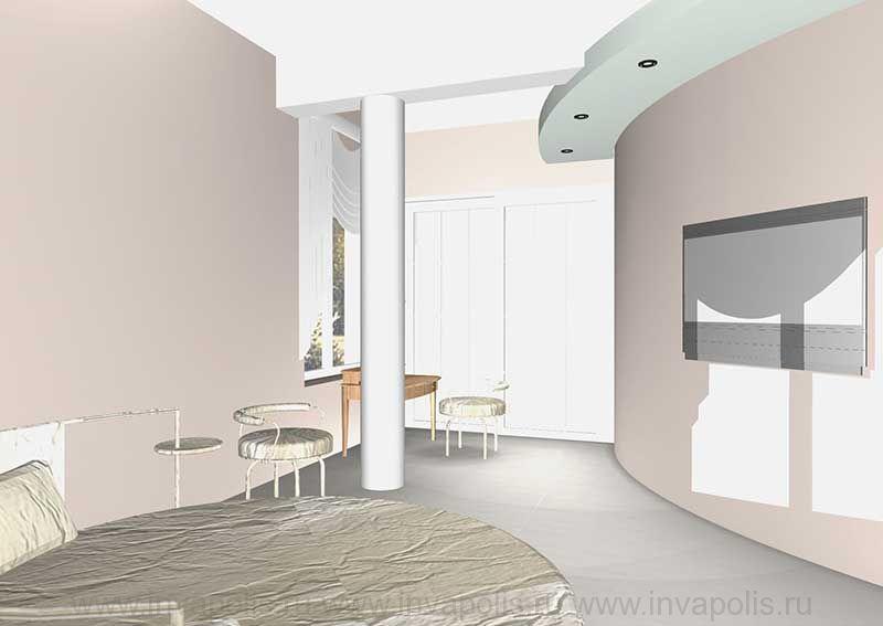 Спальня родителей с гардеробной комнатой и ванной. Проект особняка в СТУПИНО