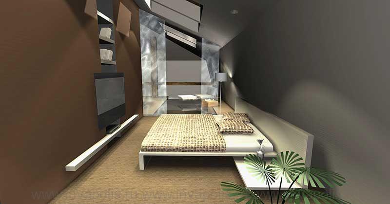 Спальня у водопада. Конкурс NEUHAUS. Проект интерьеров двухуровневой квартиры