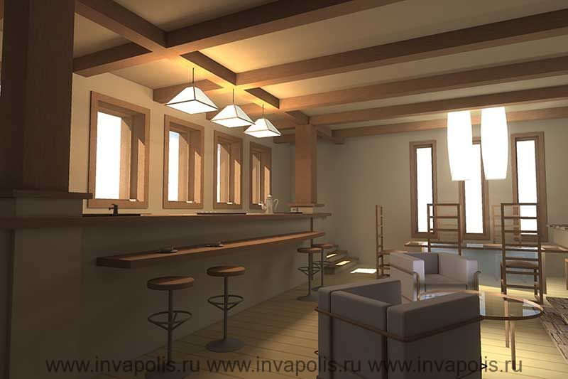 Балочные потолки с тремя светильниками  в интерьерах дома В СТИЛЕ ЛЛОЙДА РАЙТА