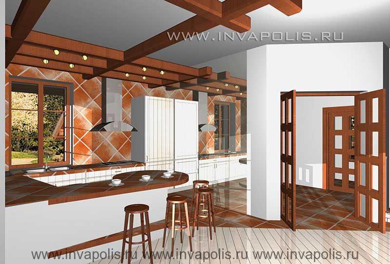 Двухуровневые балочные потолки со встроенными светильниками в проекте интерьеров дома ЕВРОПЕЙСКИЙ