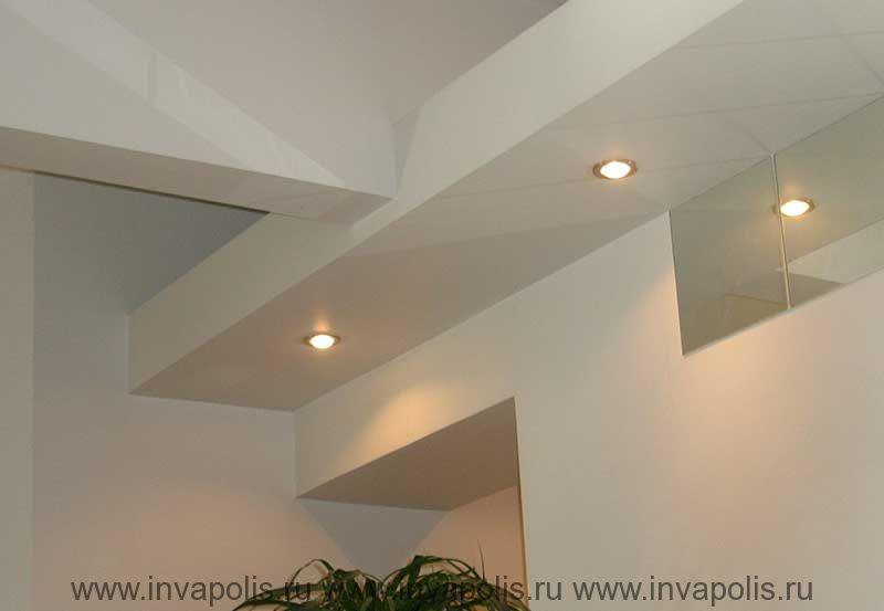 Двухуровневые потолки для встраивания освещения в проекте  интерьеров квартиры В МАРФИНО