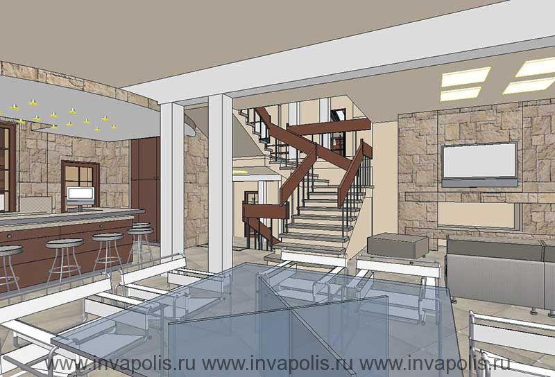 Двухуровневые потолки над кухней. Проект интерьеров дома-спирали ЯНТАРЬ