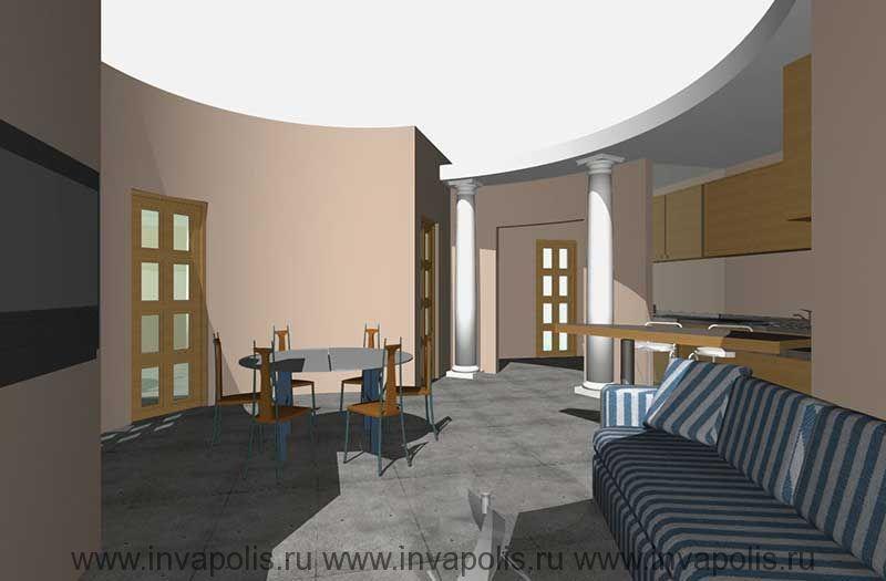 Двухуровневые потолки со встроенными светильниками  в проекте  интерьеров квартиры НА ДУБНИНСКОЙ