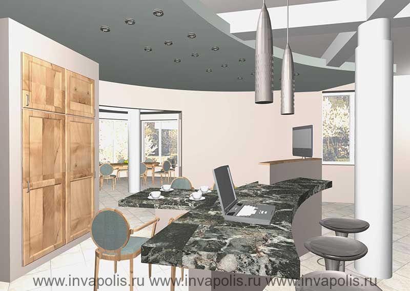 Двухуровневый подвесной потолок со втроенными светильниками в проекте интерьеров особняка В СТУПИНО
