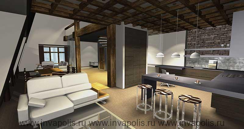 Деревянный кессонированный потолок с точечным освещением в проекте интерьеров двухуровневой квартиры в мансарде. КОНКУРС NEUHAUS