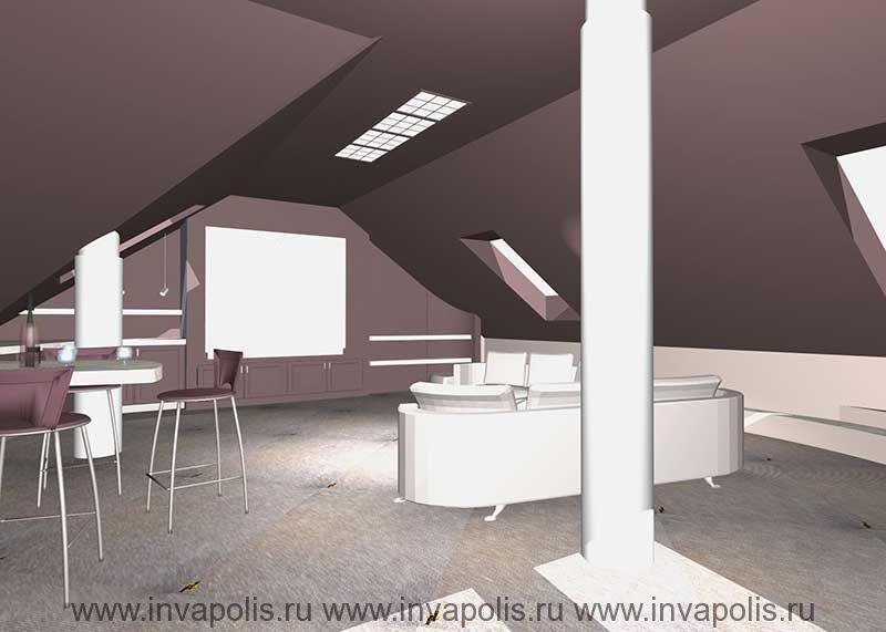 Многоскатные потолки c системой светильников зоны кинотеатра в мансардном этаже в проекте интерьеров особняка В СТУПИНО