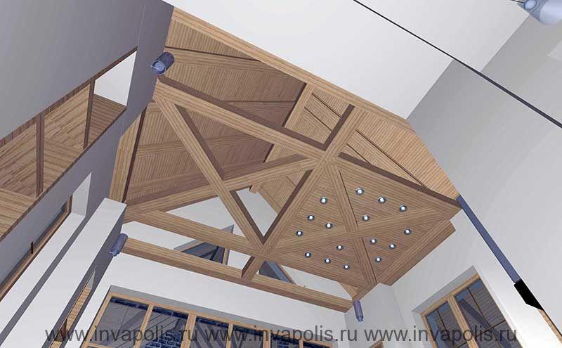 Пергольный потолок из бруса над кухней-столовой. Проект интерьеров дома НА НОВОРИЖСКОЙ
