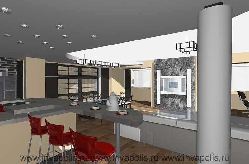 Подвесной уровень потолка над входом в квартиру со встроенным освещением в проекте интерьеров квартиры В СТУПИНО