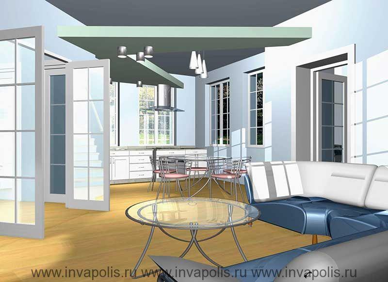 Подвесной уровень потолка над зоной кухни-столовой со встроенной системой освещения в проекте интерьеров дома КОМФОРТ