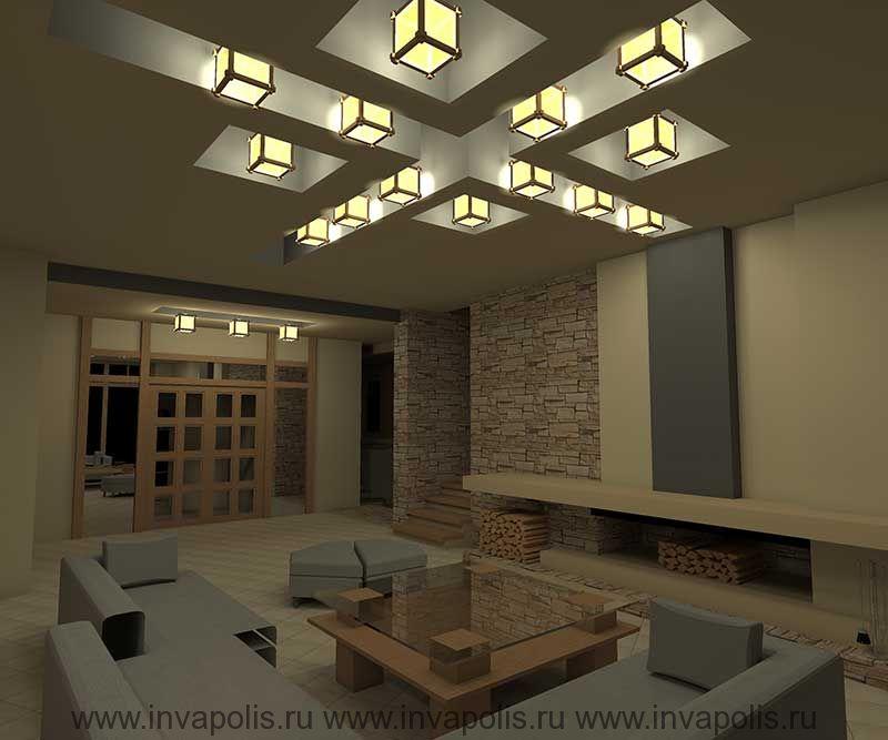 Потолки с нишами для встраивания освещения в проекте интерьеров дома В СТИЛЕ ЛЛОЙДА РАЙТА