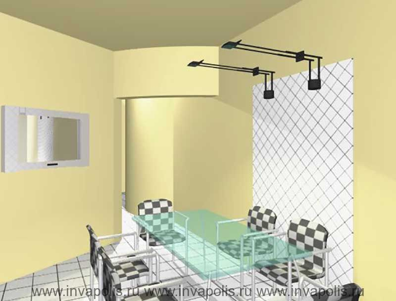 Радиально балочный потолок в столовой в проекте интерьеров квартиры В ОСТАНКИНО