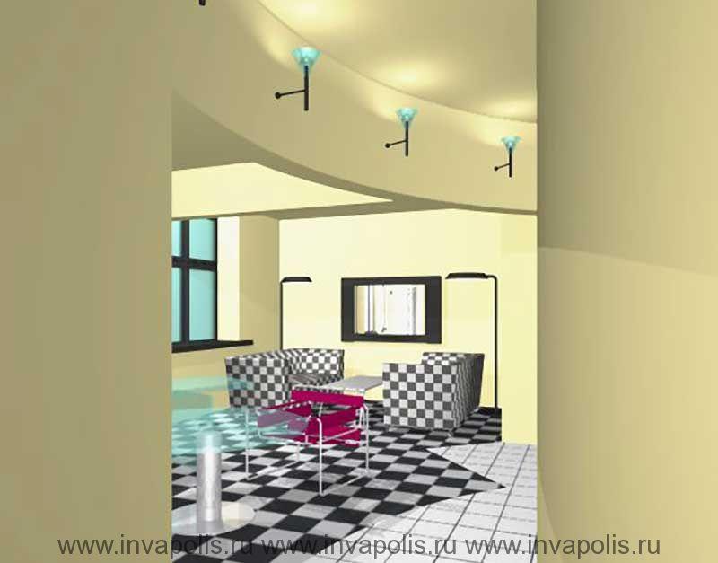 Радиально-балочный потолок с системой светильников-бра в проекте интерьеров квартиры В ОСТАНКИНО