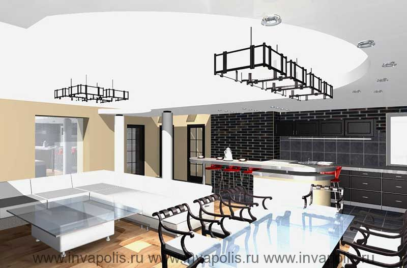 Радиальный подвесной уровень потолка со встроенным подсветом в интерьерах квартиры В СТУПИНО