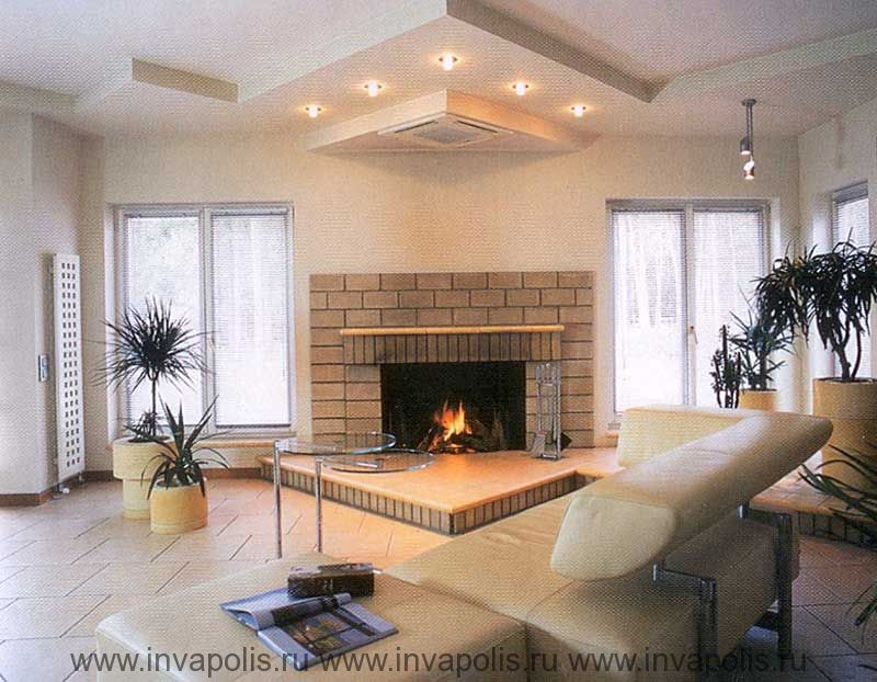 Трехуровневый потолок со встроенной системой светильников в проекте  интерьеров дома КАНАДСКИЙ