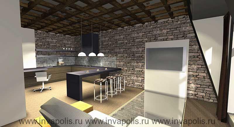 Зекальные полы для визуального объединения диванной, гостиной и кухни лофт-интерьеров двухуровнегой мансардной квартиры. КОНКУРС NEUHAUS