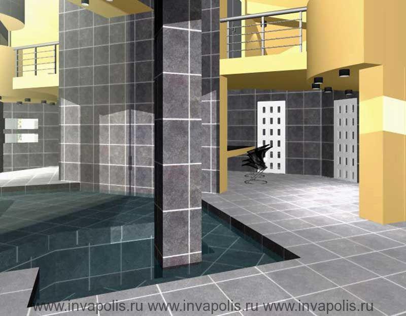 Зеркальная стена увеличивающая поверхность водной глади окуналочной интельеров гостевого дома С ВОДОПАДОМ