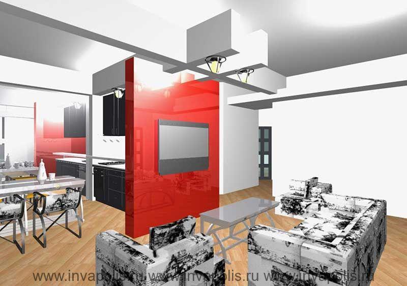 Зеркальная стенка в столовой интерьеров трехкомнатной квартиры на КОРОЛЕВА