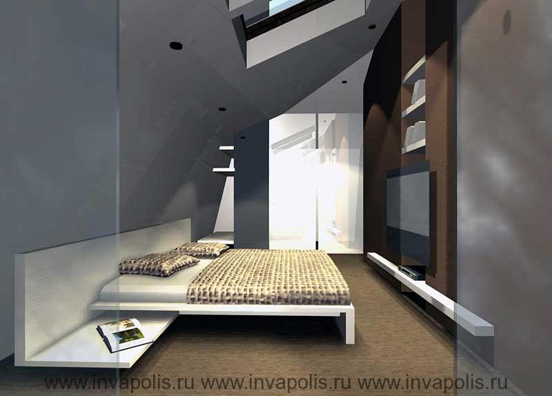 Зеркальная стенка гардеробной в дизайне спальни в лофт пространстве мансардного этажа двухуровневой квартиры.  КОНКУРС NEUHAUS