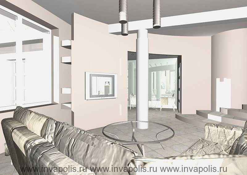 Зеркальная стенка прихожей с отражением диванной в интерьере особняка в СТУПИНО