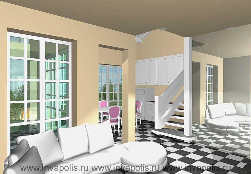 Зеркальная стенка увеличивающая гостиную в интерьерах дома КРОХА