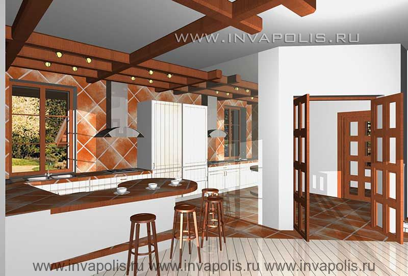 Зеркальная стенка увеличивающая пространсво кухни интерьеров дома ЕВРОПЕЙСКИЙ