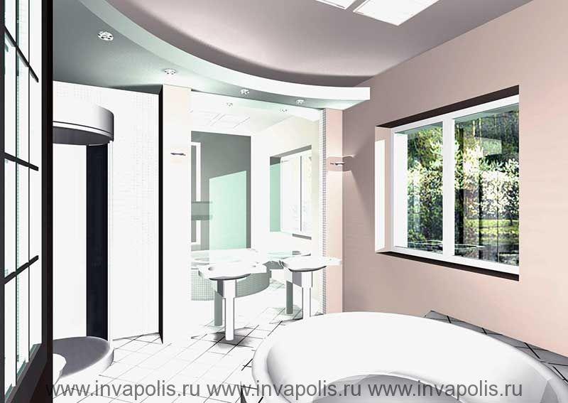 Зеркальная стенка увеличивающая пространство ванной в интерьрах особняка В СТУПИНО