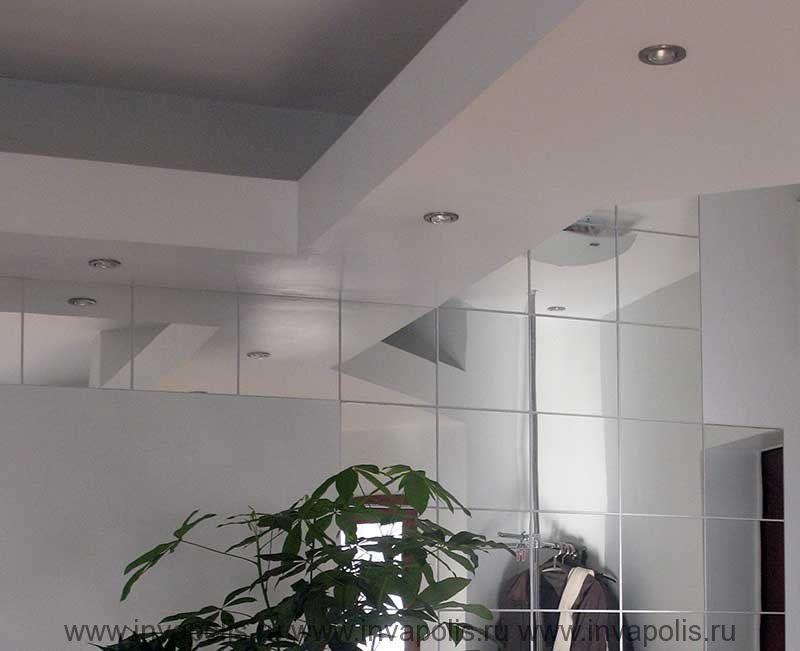 Зеркальные фрагменты стен интерьеров офиса в МАРФИНО