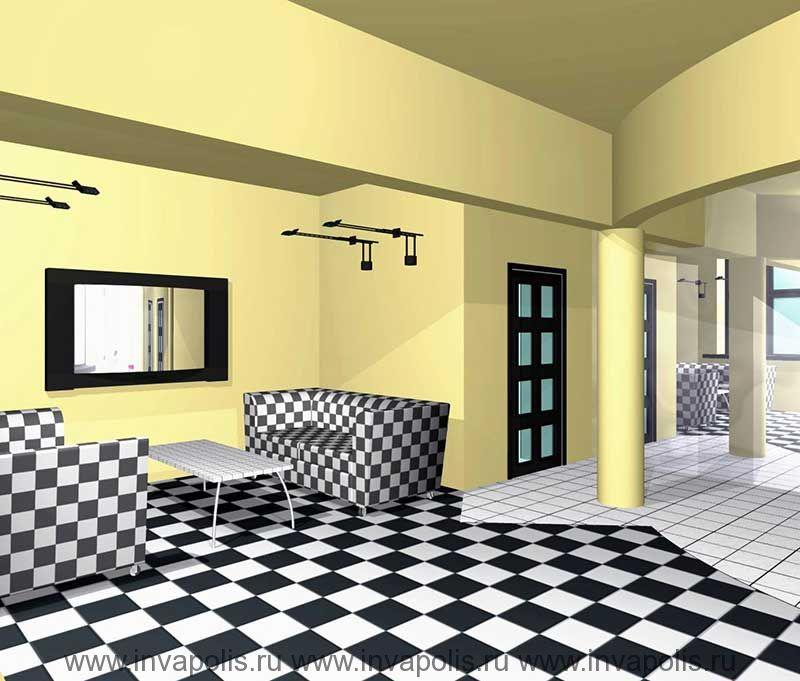 Отражение холла и гостиной в зеркальной стенке интерьеров трехкомнатной картиры В ОСТАНКИНО