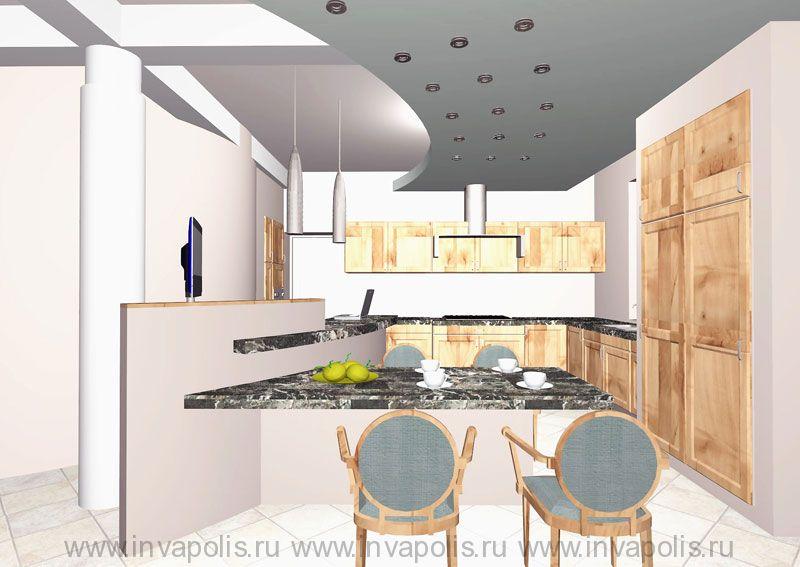 Вид на кухню-столовую и  барную стойку