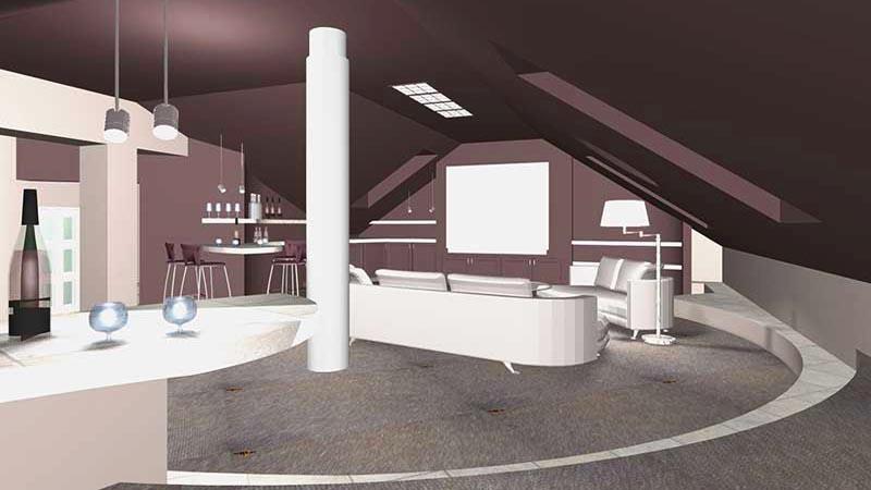 Лофт-стиль интерьеров особняка в СТУПИНО - в едином пространстве мансардного этажа мини-кухня, кинотеатр, зона отдыха  по-восточному
