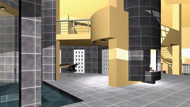 Лофт - стиль интерьеров гостевого дома С ВОДОПАДОМ - в едином пространстве все три этажа дома