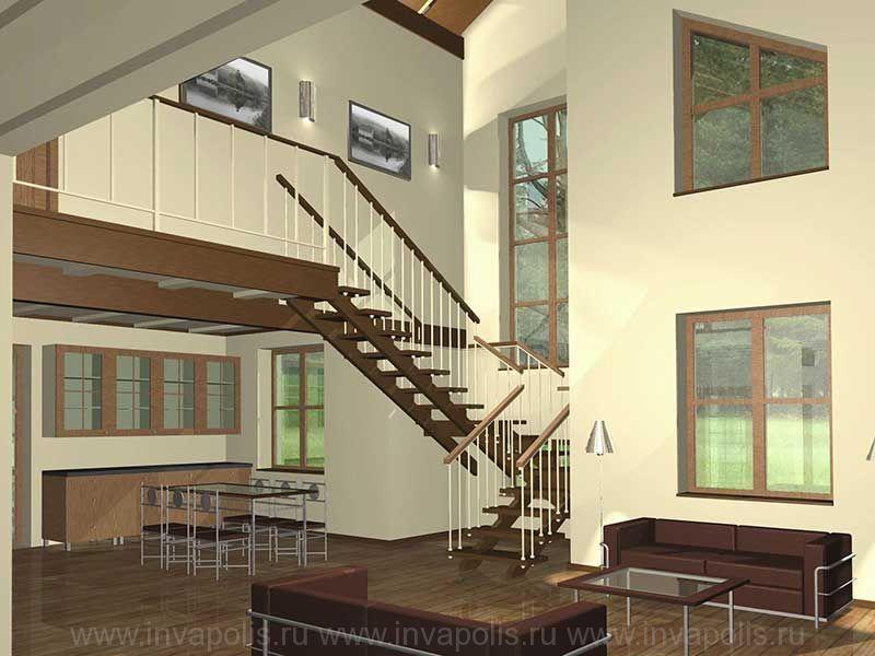 Лофт - стиль дома СВЕТЛЫЙ 150 - в едином пространстве кухня, столовая, холл с лестницей, двусветная каминная и холл мансарды