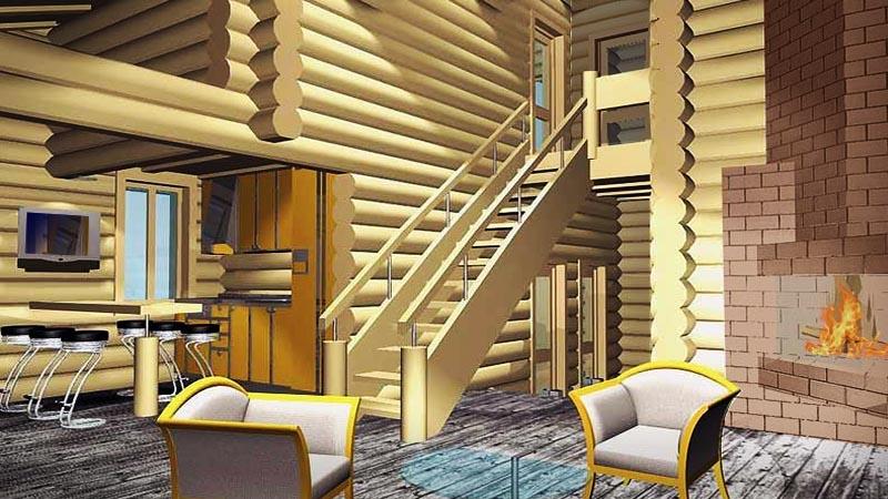 Лофт - стиль интерьеров бревенчатого дома АНДРЕАПОЛЬ - в едином пространстве холл, двусветная каминная с лестницей, кухня, столовая