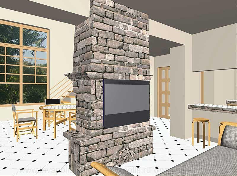 Лофт - стиль интерьеров дома БУНГАЛО - в едином пространстве диванная, кухня и двусветная гостиная с лестницей