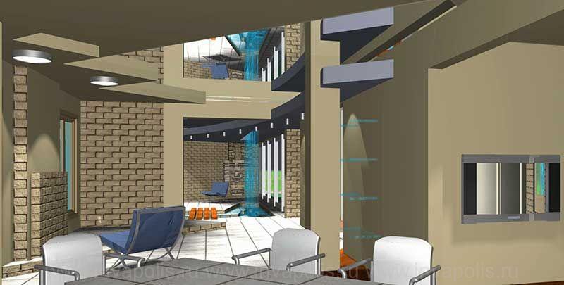 Лофт - стиль интерьеров дома КАНАДСКИЙ - в едином пространстве кухня, диванная, холл с лестницей, каминная и зимний сад