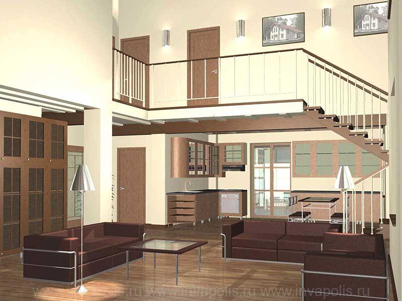 Лофт - стиль интерьеров дома СВЕТЛЫЙ 117 - в едином пространстве холл с лестницей, каминная, кухня, столовая и холл мансарды