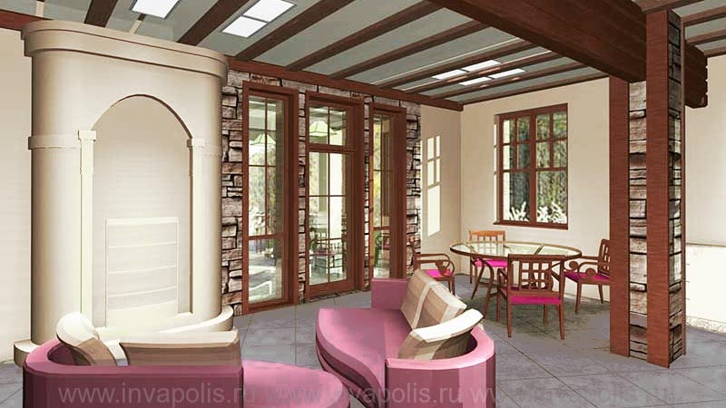 Лофт - стиль интерьеров дома ТИРОЛЬ - в едином пространстве каминная, холл, столовая, кухня с лестницей