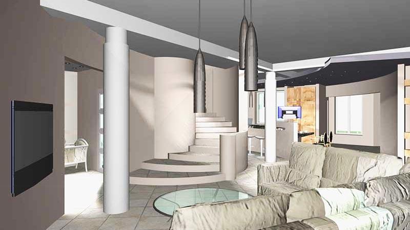 Лофт - стиль особняка в СТУПИНО  - в едином пространстве холл, диванная с лестницей, кухня, столовая, барная стойка