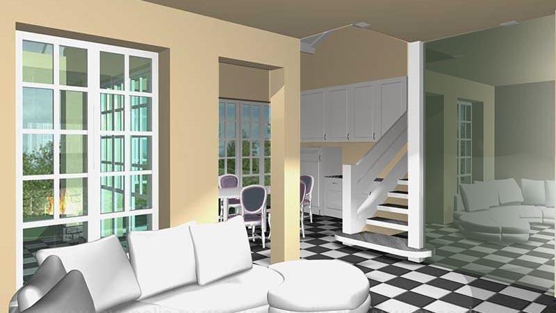 Лофт- стиль интерьеров  дома КРОХА - в едином пространстве диванная, кухня-столовая с лестницей