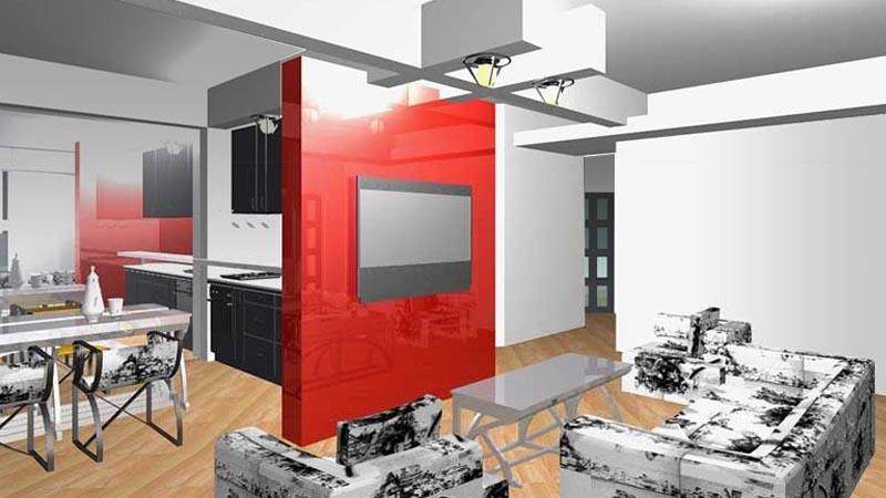 Лофт-стиль  интерьеров квартиры В ОСТАНКИНО -  в едином пространстве гостиная, холл, кухня и столовая
