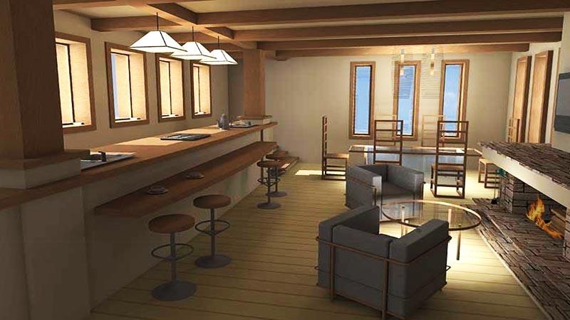 Лофт-стиль интерьеров дома В СТИЛЕ ЛЛОЙДА РАЙТА - в едином пространстве кухня, столовая, барная стойка и малая каминная