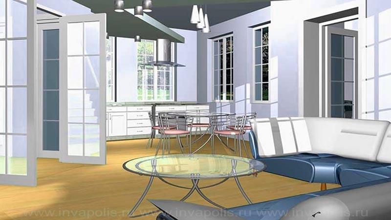 Лофт-стиль интерьеров дома КОМФОРТ - в едином пространстве диванная, столовая и кухня