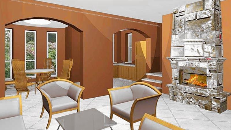 Лофт-стиль интерьеров дома УЗКИЙ - в едином пространстве каминная, гостиная, кухня, холл